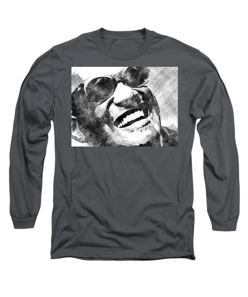 Ray Charles Bw Portrait Long Sleeve T-Shirt by Mihaela Pater