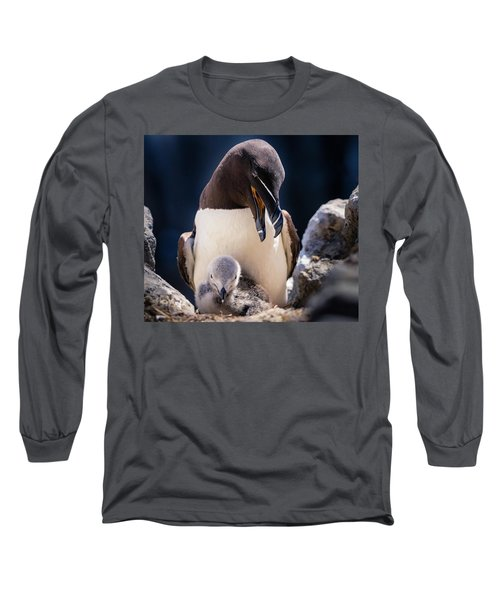 Razorbill With Chick, Farne Islands Long Sleeve T-Shirt