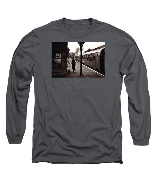 Long Sleeve T-Shirt featuring the photograph Ready To Depart Corfe Castle Station by Nop Briex