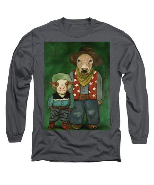 Long Sleeve T-Shirt featuring the painting Real Cowboys 3 by Leah Saulnier The Painting Maniac