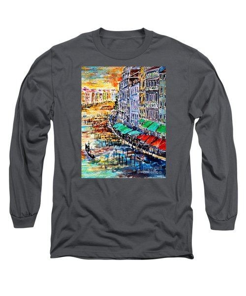 Long Sleeve T-Shirt featuring the painting Recalling Venice 03 by Alfred Motzer