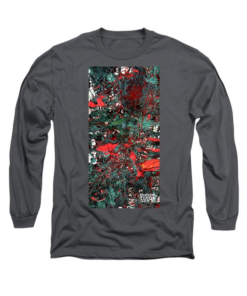 Long Sleeve T-Shirt featuring the painting Red And Black Turquoise Drip Abstract by Genevieve Esson