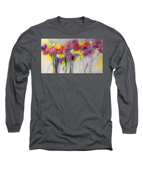 Red And Yellow Floral Field Painting Long Sleeve T-Shirt by Lisa Kaiser
