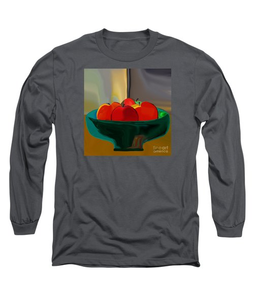 Long Sleeve T-Shirt featuring the digital art Red Apples Fruit Series by Haleh Mahbod