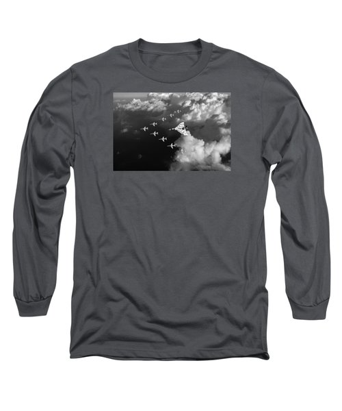 Red Arrows And Vulcan Above Clouds Black And White Long Sleeve T-Shirt