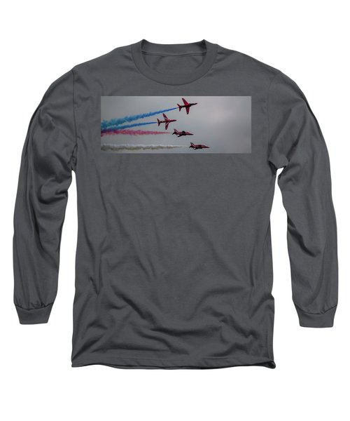 Long Sleeve T-Shirt featuring the photograph Red Arrows Break Off - Teesside Airshow 2016 by Scott Lyons