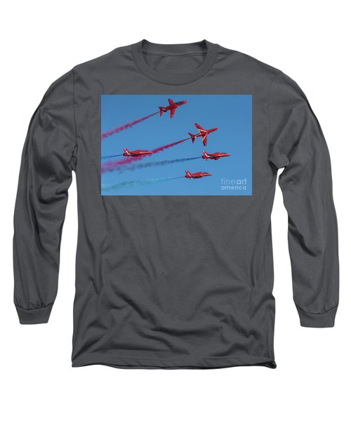 Long Sleeve T-Shirt featuring the photograph Red Arrows Enid Break by Gary Eason
