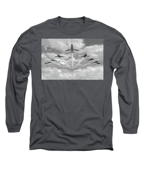 Long Sleeve T-Shirt featuring the photograph Red Arrows Smoke On Bw Version by Gary Eason