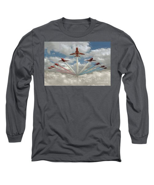 Long Sleeve T-Shirt featuring the photograph Red Arrows Smoke On  by Gary Eason
