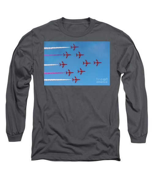 Long Sleeve T-Shirt featuring the photograph Red Arrows Typhoon Formation by Gary Eason