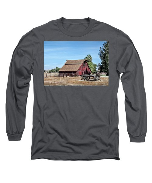 Red Barn And Wagon Long Sleeve T-Shirt