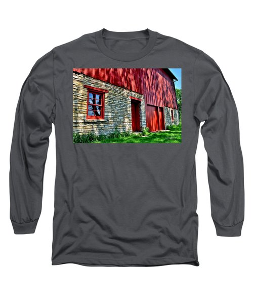 Red Barn In The Shade Long Sleeve T-Shirt