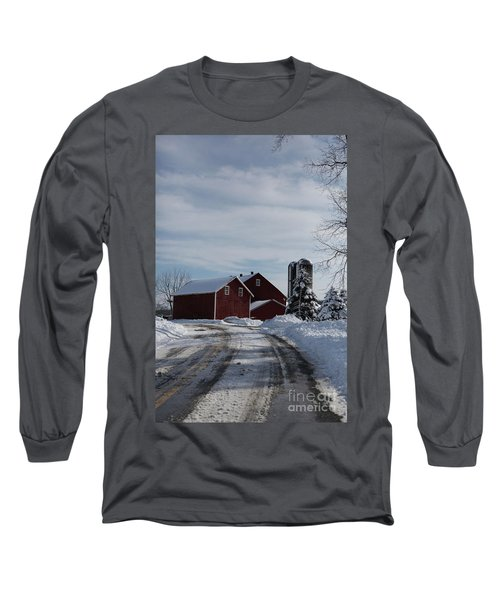 Red Barn In The Snow Long Sleeve T-Shirt