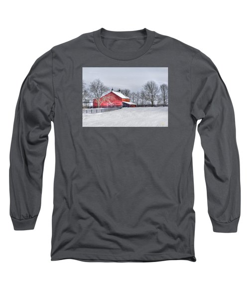 Red Barn Winter Long Sleeve T-Shirt