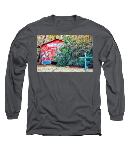 Red Barn With Signs, Heavily Guarded Long Sleeve T-Shirt