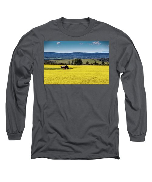 Red Barns In A Sea Of Canola Long Sleeve T-Shirt