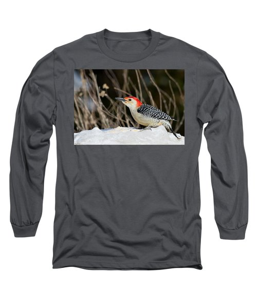 Long Sleeve T-Shirt featuring the photograph Red-bellied Woodpecker In The Snow by Angel Cher