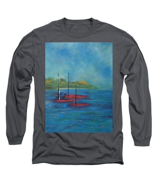 Long Sleeve T-Shirt featuring the painting Red Boats by Judith Rhue