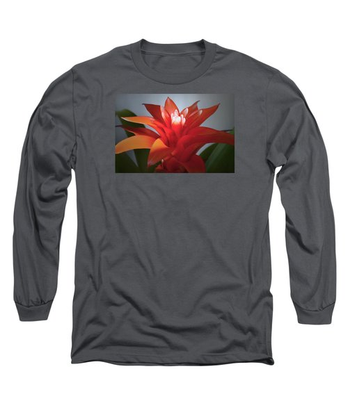 Red Bromeliad Bloom. Long Sleeve T-Shirt by Terence Davis