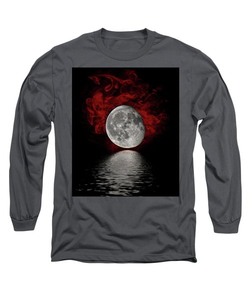 Red Cloud With Moon Over Water Long Sleeve T-Shirt