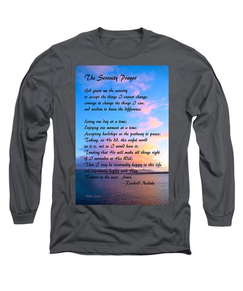 Red Clouds Over Morro Bay Serenity Prayer Long Sleeve T-Shirt