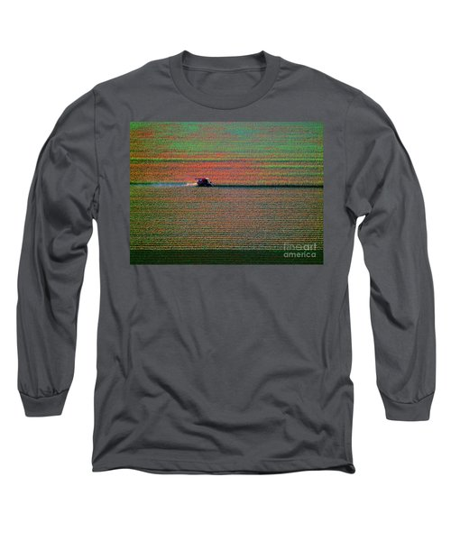 Red Combine Harvesting  Mchenry Aerial Long Sleeve T-Shirt by Tom Jelen