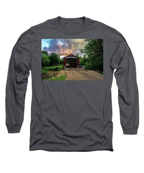 Red Covers Bridge With Pretty Sky  Long Sleeve T-Shirt