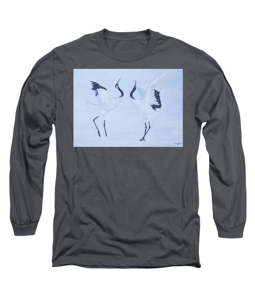Red-crowned Crane Pair Long Sleeve T-Shirt