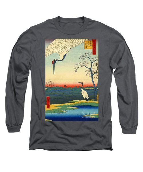 Red Crowned Cranes 1857 Long Sleeve T-Shirt by Padre Art