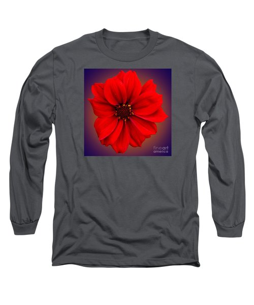 Long Sleeve T-Shirt featuring the photograph Red Dahlia-bishop-of-llandaff by Brian Roscorla