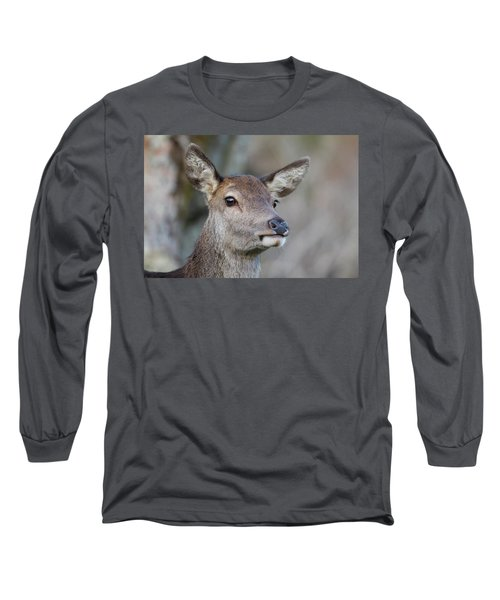 Long Sleeve T-Shirt featuring the photograph Red Deer Hind - Scottish Highlands by Karen Van Der Zijden