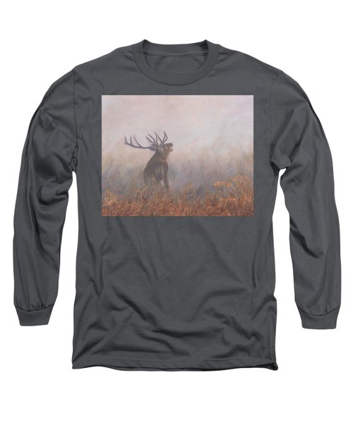 Long Sleeve T-Shirt featuring the painting Red Deer Stag Early Morning by David Stribbling