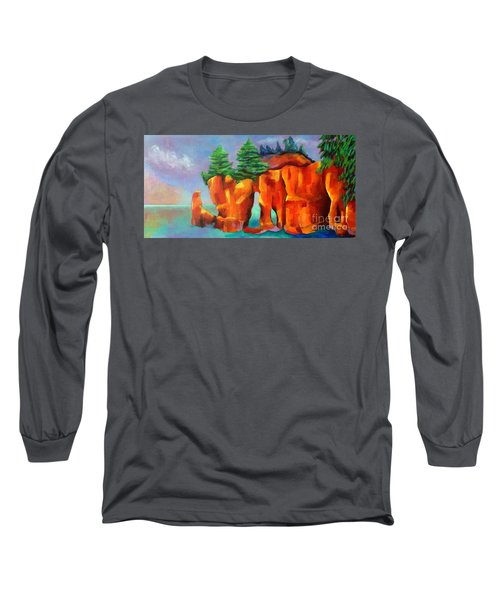 Red Fjord Long Sleeve T-Shirt by Elizabeth Fontaine-Barr