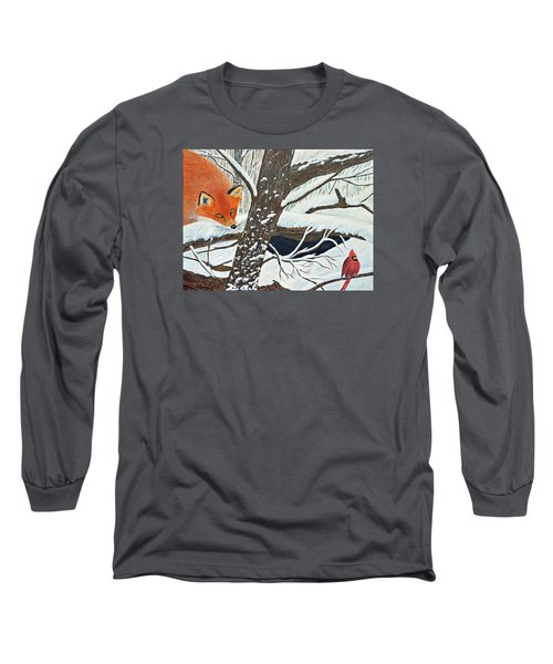 Red Fox And Cardinal Long Sleeve T-Shirt
