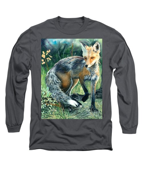 Red Fox- Caught In The Moment Long Sleeve T-Shirt by Barbara Jewell
