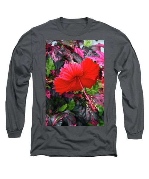 Red Hibiscus  Long Sleeve T-Shirt by Inspirational Photo Creations Audrey Woods