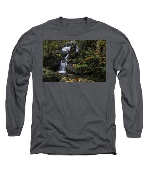 Red Leaf Waterfalls Long Sleeve T-Shirt