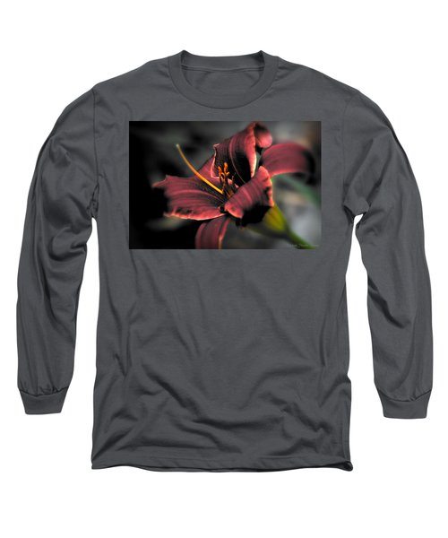 Red Lilly2 Long Sleeve T-Shirt by Michaela Preston