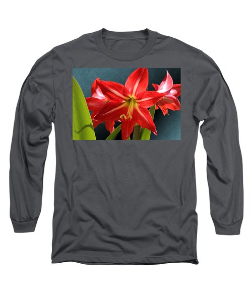 Red Lily Flower Trio Long Sleeve T-Shirt