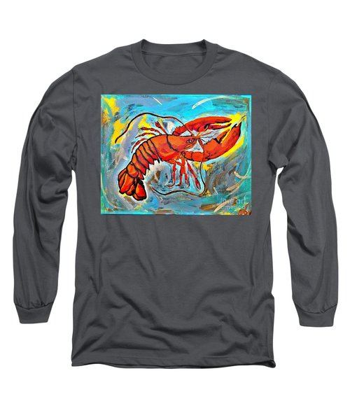 Red Lobster Abstract  Long Sleeve T-Shirt by Scott D Van Osdol