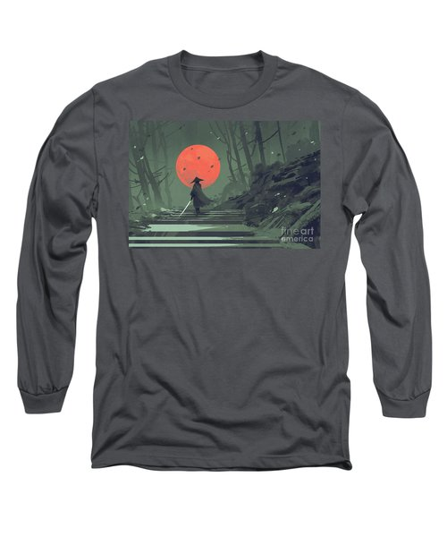Long Sleeve T-Shirt featuring the painting Red Moon Night by Tithi Luadthong