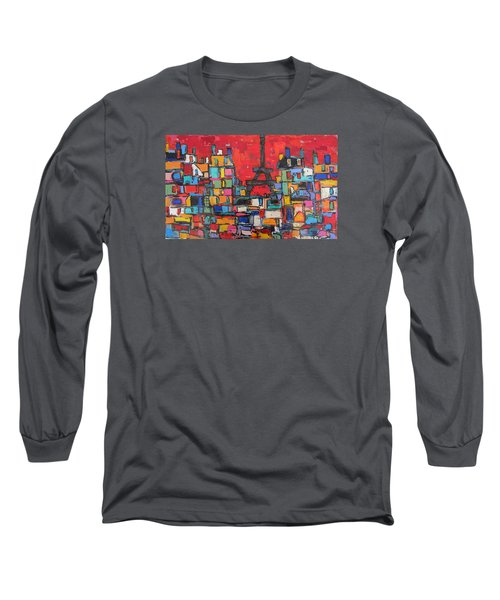 Red Paris Eiffel  Long Sleeve T-Shirt