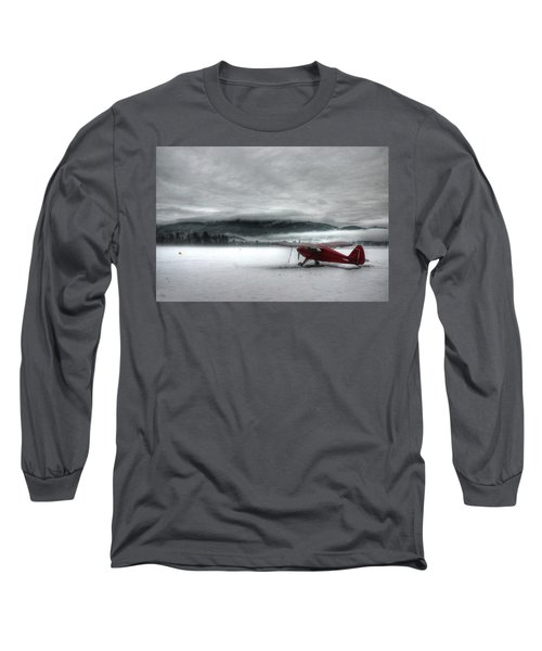 Red Plane In A Monochrome World Long Sleeve T-Shirt