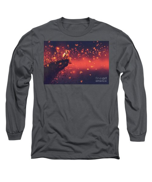 Long Sleeve T-Shirt featuring the painting Red Planet by Tithi Luadthong