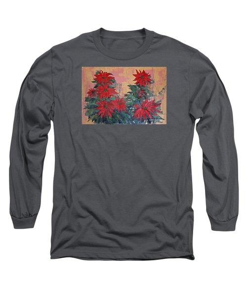 Red Poinsettias By George Wood Long Sleeve T-Shirt