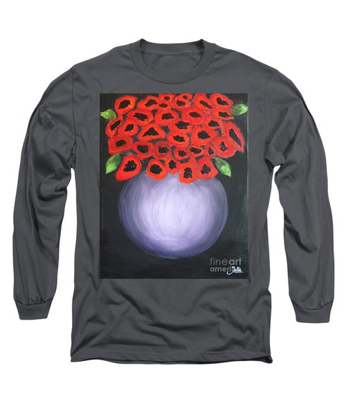 Long Sleeve T-Shirt featuring the painting Red Poppies  by Jolanta Anna Karolska