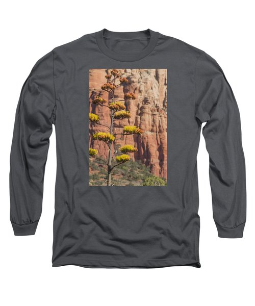 Long Sleeve T-Shirt featuring the photograph Red Rocks And Century Plant by Laura Pratt