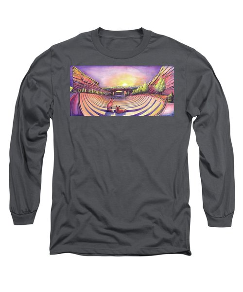 Long Sleeve T-Shirt featuring the painting Red Rocks Sunrise by David Sockrider
