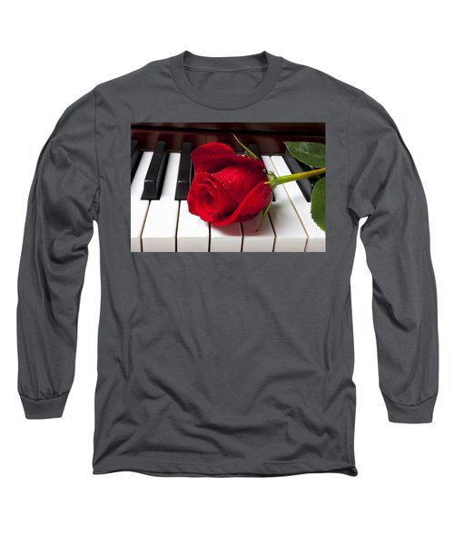 Red Rose On Piano Keys Long Sleeve T-Shirt by Garry Gay