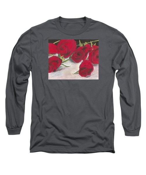 Red Rose Redux Long Sleeve T-Shirt by Arlene Crafton